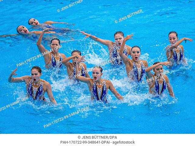 China's team wins the finale of the women's synchro free combination of the FINA World Championships 2017 in Budapest, Hungary, 22 July 2017