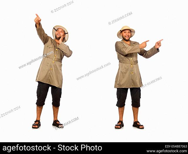 Man in safari hat isolated on white