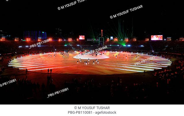 Magnificent fireworks light up the night sky during the inauguration of the 2011 ICC Cricket World Cup at the Bangabandhu National Stadium Dhaka