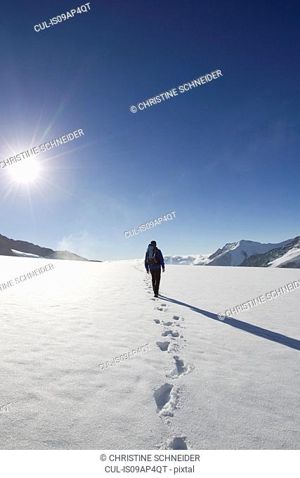Rear view of male hiker and snow footprints, Jungfrauchjoch, Grindelwald, Switzerland