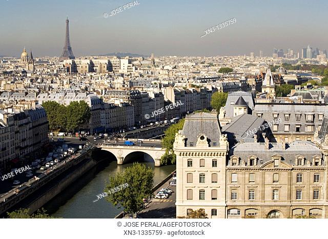 Aerial view of the Seine River, on background Eiffel Tower, from Notre-Dame belltower, Paris. France