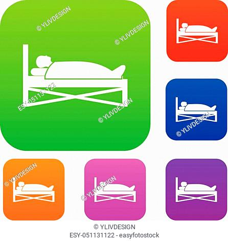 Patient in bed in hospital set icon in different colors isolated vector illustration. Premium collection