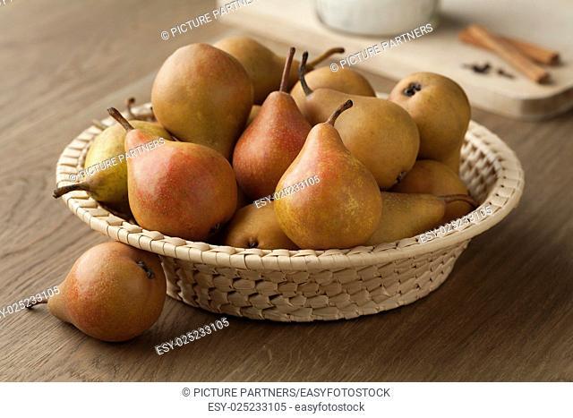 Fresh picked Gieser Wildeman pears in a basket