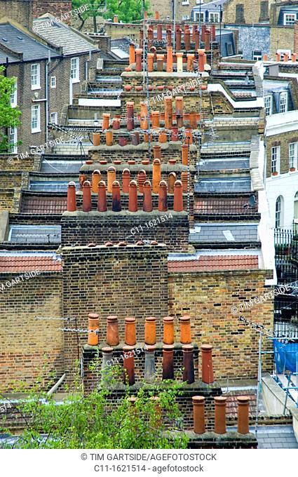 old roof tops, Islington, London, England, UK