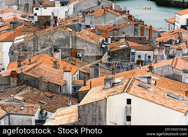 High Angle View of roofs in the center of La Rochelle, France