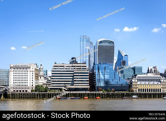 The River Thames and Cty of London Skyline, London, England