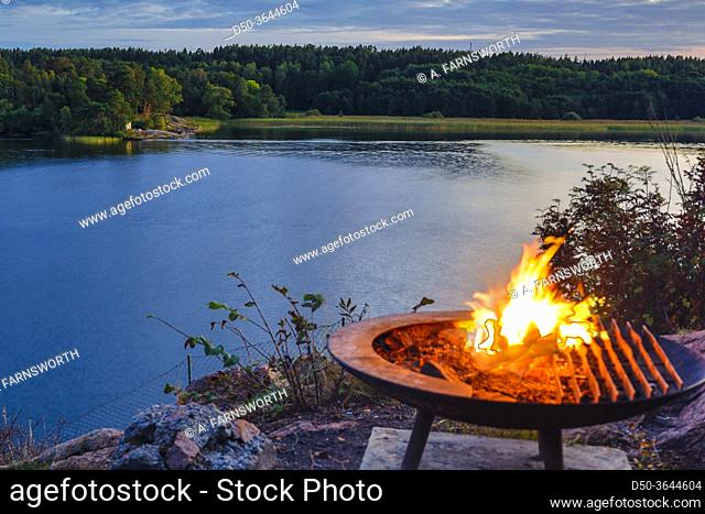 Stockholm, Sweden A campfire by the lake Malaren