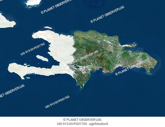 Satellite view of The Dominican Republic with border and mask. This image was compiled from data acquired by LANDSAT 5 & 7 satellites