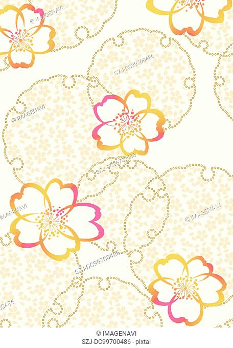 Oriental background with Japanese traditional pattern and cherry blossom