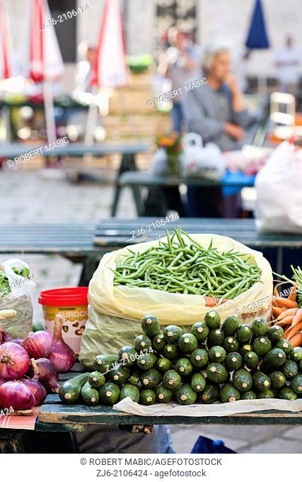 Stalls of vegetables in town market, Dubrovnik