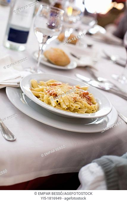 macaroni in a restaurant from Valencia, Spain