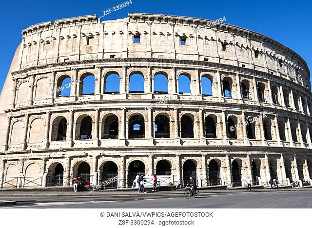 Colosseum or Coliseum, the most famous landmark from ancient Rome