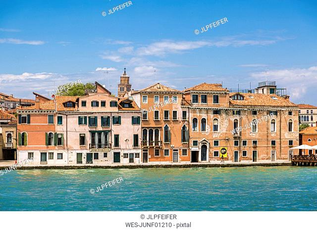 Italy, Venice, row of houses seen from the lagoon