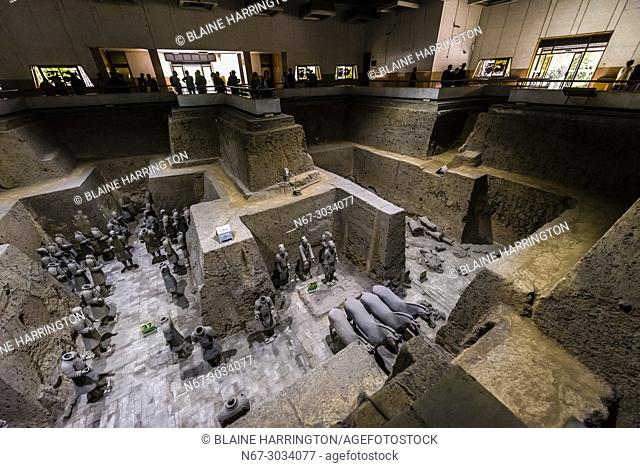 Vault 3 Excavation pits where work is still ongoing at the Terracotta Army of Emperor Qin Shi Huang, the first emperor of China