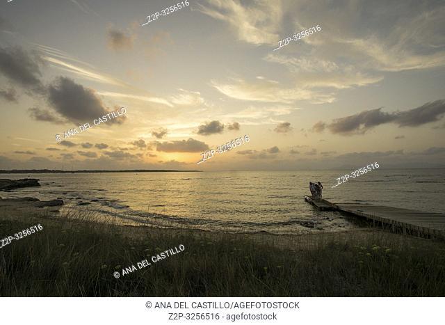 FORMENTERA ISLAND SPAIN ON SEPT 5, 2018: Sunset above the Mediterranean Sea. Puerto La Savina the harbor