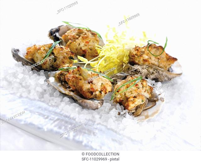 Stuffed Baked Oysters on the Half Shell, On a Plate of Ice
