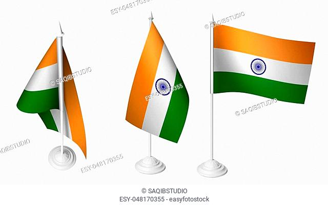 Isolated 3 Small Desk India Flag waving 3d Realistic Indian Desk Flag