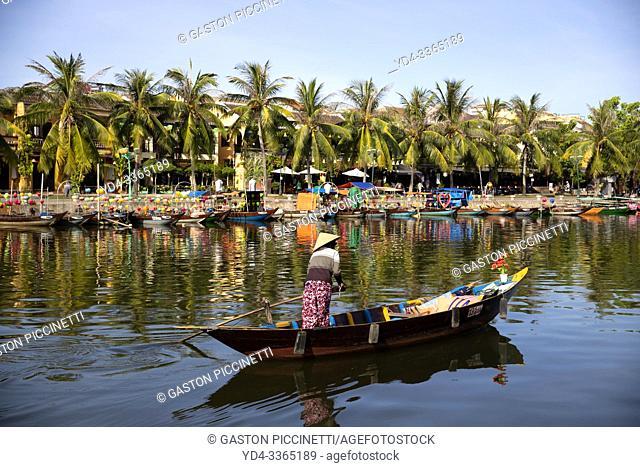 Woman in boat, Thu Bon River Hoi An Ancient Town, Quang Nam Province, Vietnam