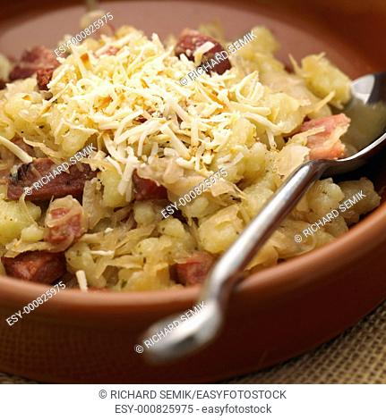halusky with cabbage and bacon Slovakian cuisine