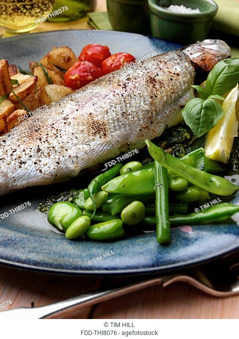 Individual portion of broiled rainbow trout and sauté potatoes tomatoes with green bean salad