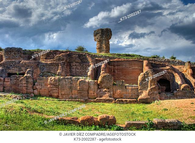 Houses of the Southern Rock Complex. Celtiberian and Roman Archaeological Site of Tiermes. Montejo de Tiermes. Soria Province. Castilla y Leon. Spain