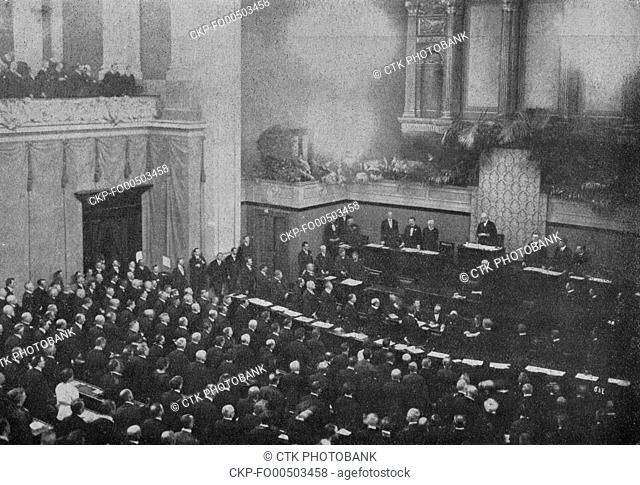 President of Czechoslovakia Tomas Garrigue Masaryk makes a promise during the festive meeting at the National Assembly in Prague, Czechoslovakia, May 27, 1920