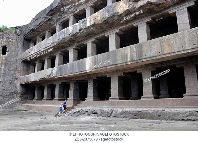 Cave 12 : Teen Tal Facade. View from South-West. The pillars are square and have simple bracketed capitals. Ellora Caves