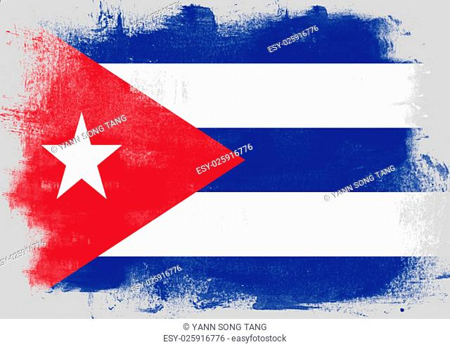 Flag of Cuba painted with brush on solid background