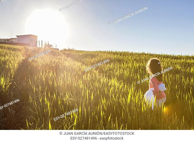 Little girl and her doll walking to the sun through green cereal field. Bravery concept