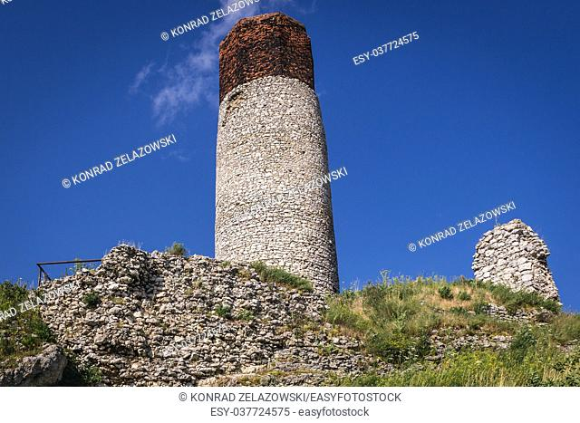 Tower of 14th century castle ruins in Olsztyn village, part of Eagles Nests castle system in Silesian Voivodeship of southern Poland