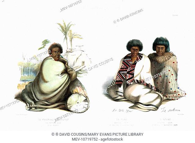 Te Whero-Whero or Patuatu, the principal chief of all Waikato (left), and Te Waro and Te Pakaru (right). Te Waro was the principal chief of the Nga-Ti-Apakura...
