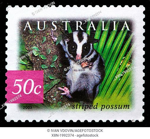 Striped possum, postage stamp, Australia, 2003
