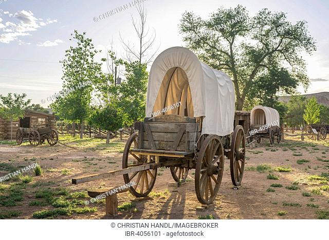Covered wagon in Fort Bluff, Bluff, Utah, United States