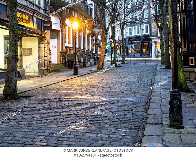 Crown Place Cobbled Street at Dusk Harrogate North Yorkshire England