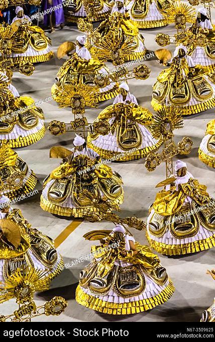 Carnaval parade of GRES Estacao Primeira de Mangueira samba school in the Sambadrome, Rio de Janeiro, Brazil
