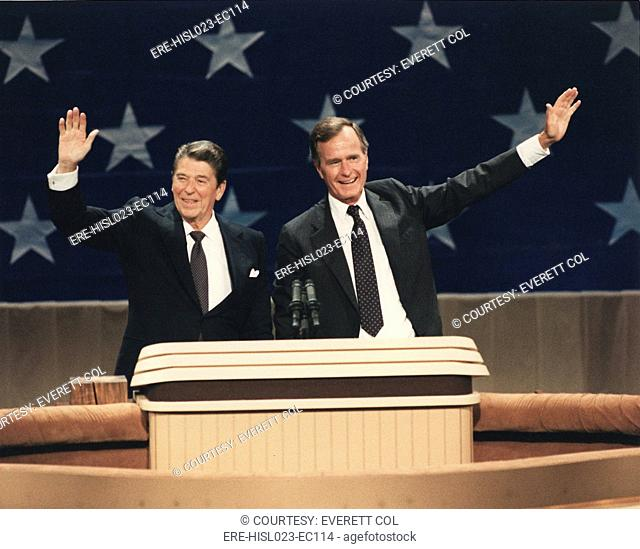 President Reagan and Vice-President Bush at the Republican National Convention Dallas Texas. Aug. 23 1984. BSLOC-2011-2-11