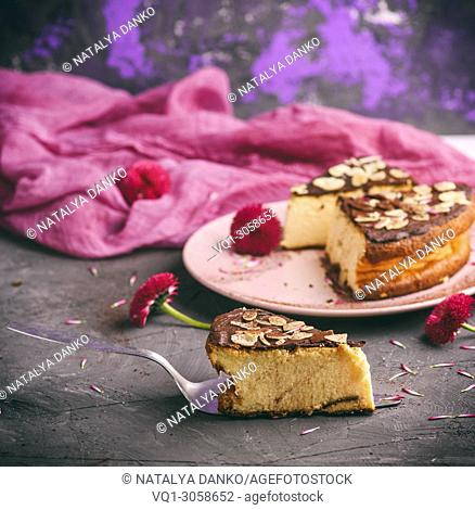 pieces of cheesecake with chocolate , close up