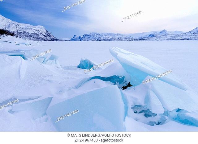 Iceformation and winterlandscape on Akkajaure at Vakkotavare in Storasjöfallets national park in Swedish lapland