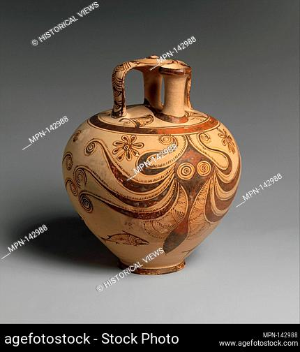 Terracotta stirrup jar with octopus. Period: Late Helladic IIIC; Date: ca. 1200-1100 B.C; Culture: Helladic, Mycenaean; Medium: Terracotta; Dimensions: H