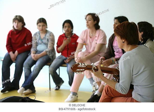 Photo essay from hospital. The association Musique et Santé at the hospital of Pediatric and Rehabilitation HPR of Bullion 78, France