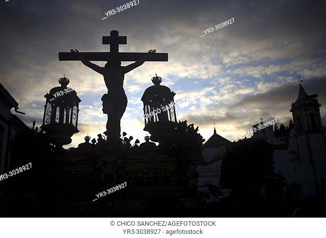 An image of Jesus Christ crucified is displayed during Easter Holy Week in Prado del Rey, Sierra de Grazalema, Andalusia, Spain