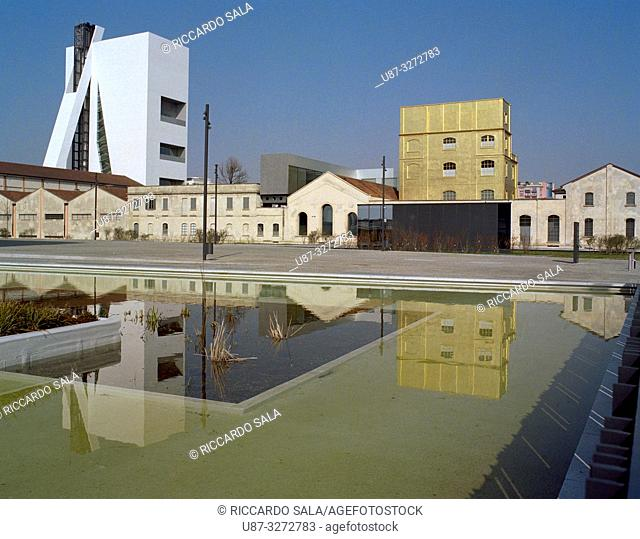 Italy, Lombardy, Milan, Piazza Adriano Olivetti Square, Fondazione Prada Foundation, Left Tower Right The Haunted House . .