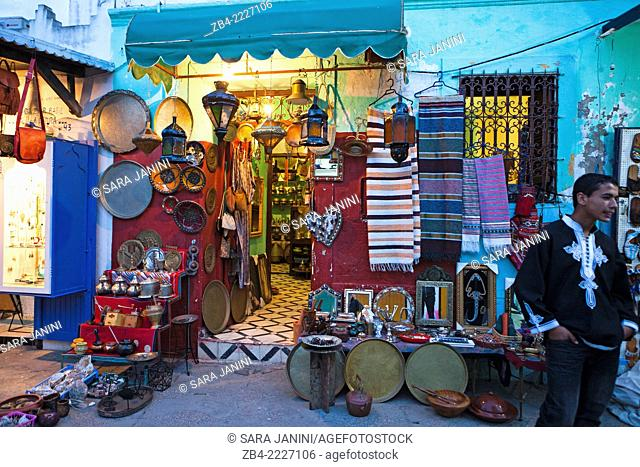 Typical Moroccan shop of the Medina. Asilah, Morocco, North Africa