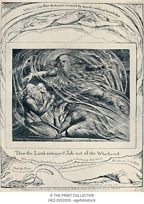 The Lord Answering Job Out of the Whirlwind. From 'Job.', c1780-1820, (1923). Job is the central figure of the Book of Job in the Bible