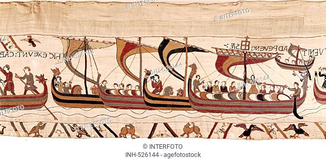 fine arts, middle ages, romanesque, Bayeux tapestry, Norman, England, circa 1070 - circa 1082, detail, the Norman fleet crossing the English Channel