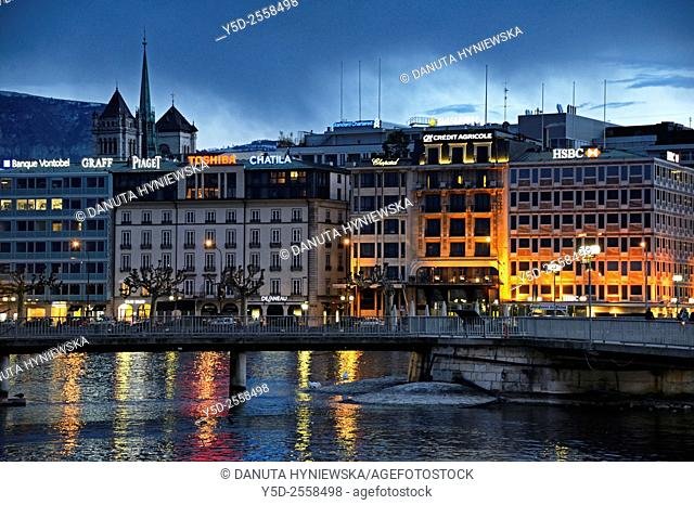 Night view of Geneva center and a Rhone river, Geneva, Switzerland