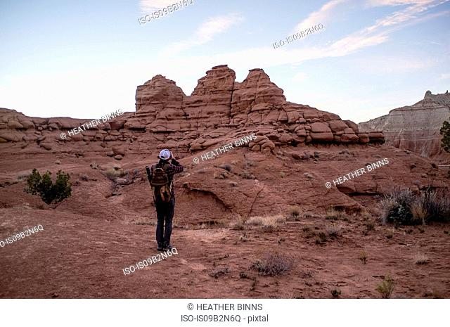 Rear view of man looking at view of sandstone mountains, Kodachrome basin state park, Utah, USA