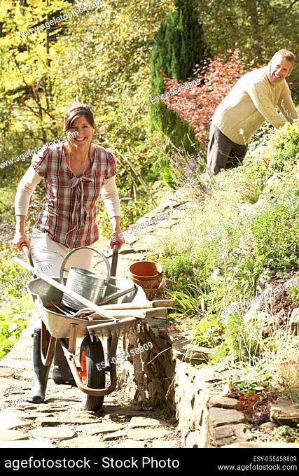 couple, gardening, garden equipment