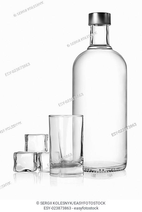Bottle of vodka and ice cube isolated on a white background. Clipping Path