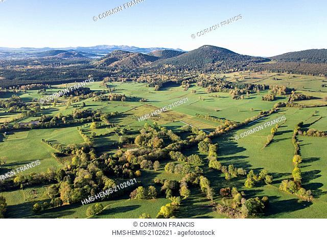 France, Puy de Dome, Beaune, Chaine des Puys, Parc Naturel Regional des Volcans d'Auvergne (Natural regional park of Volcans d'Auvergne) (aerial view)